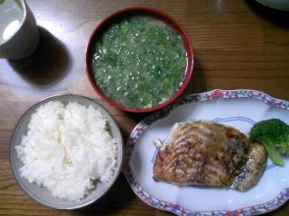 アオサの味噌汁と白身魚